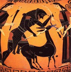 THE THIRD LABOR OF HERCULES was the capture (without killing) of the Cerynean Stag, a deer that was sacred to Artemis, seen here in a black-figure vase painting.