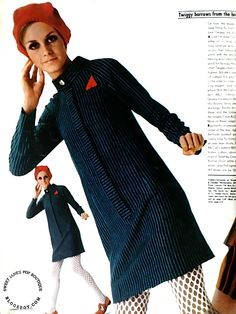 On loan: the stripes, the sleek-fitting fly front. The look: Twiggy, top to toe. A coat? A dress? It's an either/or in long, lean navy pinst...