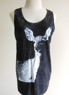 Deer Animal Style Deer Tank Top Tunic Bleached Shirt Black T-Shirt Screen Print Size M. $17.00, via Etsy.