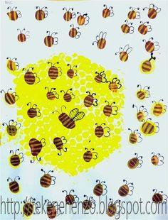 Tekenen en zo - Zzzzzzzoemende bijen: Rol een stukje noppenfolie in met gele verf en druk dit af. Laat het drogen. Maak vingerafdrukken van bruine verf en laat drogen. Teken met geel potlood strepen op het lijf van de bij. Teken met zwarte fineliner vleugels, poten en sprieten.