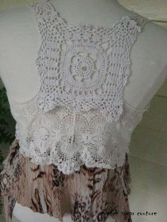 French Sugar Parisian Upcycled Bohemian Style Lace and Fabric Vest - Altered Couture. $68.00, via Etsy.