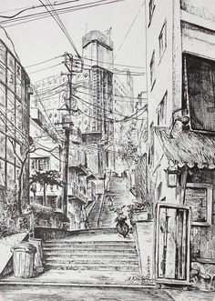 Artist - Itsuo Kiritani   Title - Roppongi (六本木)   Dimensions - (24cm x 33cm) Year - 2002  Media - Pen and Ink on Paper   Exhibition - ANA InterContinental Tokyo  Nov. 9, 2015 - Feb. 9, 2016     Reserved - Private Collection Tokyo