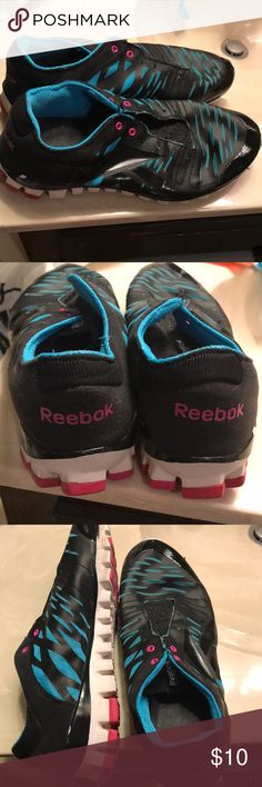 Reebok Realflex - Blue, Pink, and Black These are in good shape. Minimal wear on shoes except for a couple white scuffs (see pics), some wear on bottom but lots of life left in the treads. My feet grew in pregnancy and they're too small. I'm keeping the laces since they are my favorites. Make an offer or bundle them up for a discount! Reebok Shoes Athletic Shoes