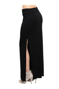 High Waisted Double Slit Knit Maxi Skirt
