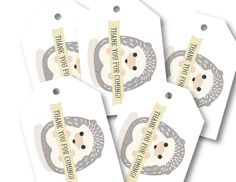Favor Tags Baby Shower Party Decor // BABY HEDGEHOG by PeraPress