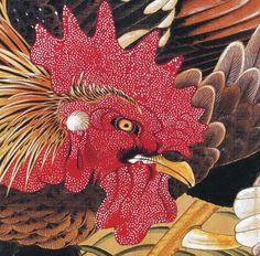伊藤若冲. Detail. Ito Jakuchu rooster. Japanese hanging scroll. Edo period.