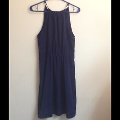 sapphire blue halter dress Take home this classy, dark blue dress, only been worn once for a fantastic price! Zara Dresses Midi