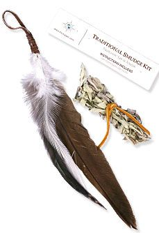 Smudge Kit Feather, sage and intructions on how to use.
