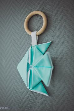 Wooden teething ring toy Origami Fish Organic teether wood