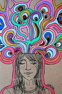 Psychedelic Dreaming Thinking Girl Art Print  surreal by artLAB23, $5.00