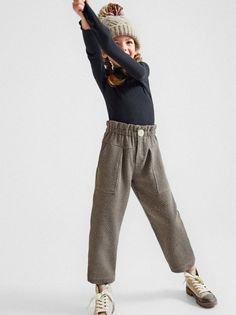 HOUNDSTOOTH PANTS - View All-LEGGINGS | PANTS-GIRL | 6 - 14 years-KIDS | ZARA United States Trousers For Girls, Sports Trousers, Girls Pants, Zara Kids, Corduroy Pinafore Dress, Long Puffer Coat, Leggings Are Not Pants, Kind Mode, Kids Wear