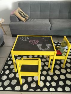 We love it when people take something that is inexpensive and simple in design and give it a wham-bam makeover. Here we take a look at 9 different IKEA hacks to help you pimp up the IKEA LATT children's table and chair set. Ikea Kids Table And Chairs, Mixed Dining Chairs, Kid Table, Ikea Hacks, Ikea Hack Kids, Ikea Kids Playroom, Kids Room, Ikea Yellow Chair, Yellow Chairs