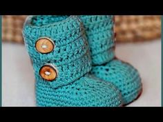 How to Crochet Baby Booties Green Zebra   Croby Patterns - YouTube