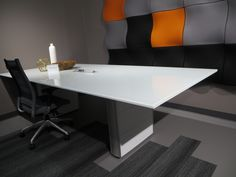 """Concurrence Conference Table : 48""""x108"""" White back painted glass top, Concurrence segmented base, Alexander Linear power unit. ICF Group: Moov tiles"""