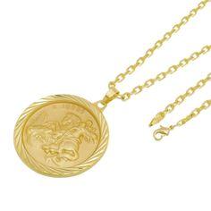 5e0e450f8ec Kit Medalha São Jorge com Corrente Tudo Jóias Cartier Diamantada Folheado a  Ouro 18k Dourada