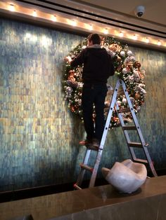 Holiday decor arriving at Langham Place, Fifth Avenue.