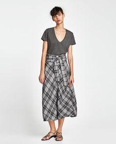 Image 1 of ECOLOGICALLY GROWN COTTON T-SHIRT from Zara Zara, V Neck T Shirt, Harem Pants, Midi Skirt, Skirts, How To Wear, Image, Fashion, V Neck Tee