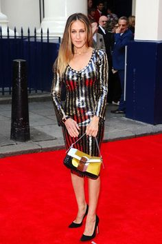 Charlie and the Chocolate Factory press night, Theatre Royal Drury Lane, London - June 25 2013  Sarah Jessica Parker attended in a sequinned wiggle dress from the Marc Jacobs pre spring/summer 2014 collection and carried a Fendi bag.
