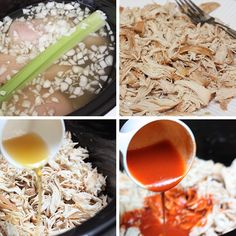 Crock Pot Buffalo Chicken Lettuce Wraps | Skinnytaste--probably the best method for making shredded chicken I've ever had!  So moist and tasty.  I used a mix of Frank's buffalo sauce and Frank's hot sauce and ended up eating another serving cold before the night was over. yum!