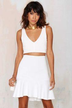 Turn Up the Heat Peplum Skirt - White
