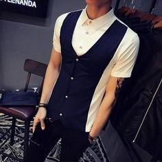 b9c67c31dc56 Fake-2pc Shirt Men Summer 2018 Slim Fit Short Sleeve Mens Casual Social  Shirt Business