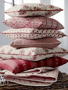 A Stack of Cranberry & White Pillows/Cushions . White Cottage, Cottage Style, Textile Patterns, Soft Furnishings, Home Textile, Decoration, Decorative Pillows, Bed Pillows, Soft Pillows