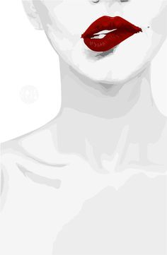 Smirk Red Lips Art Print by Valencia Pierre | Society6