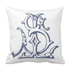 This beautiful pillow has an SL or LS monogram on the front and a beautiful, elegant pattern on the back. An easy way to change up the look of any room! Monogram Fonts, Monogram Letters, Embroidery Letters, Vintage Monogram, Silver Lake, Monogram Wedding, Hand Designs, Modern Calligraphy, Custom Pillows