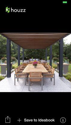 Modern metal and timber pergola
