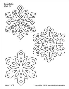 These nine free printable snowman sets are great for crafts and various winter or Christmas-themed activities. The sets include coloring pages, colored snowmen, and a build-your-own paper snowman set. Snowflake Printables, Paper Snowflake Template, Crochet Snowflake Pattern, Snowflake Craft, Free Christmas Printables, Free Printables, Printable Templates, Snowflakes Template Printable, Snowflake Coloring Pages