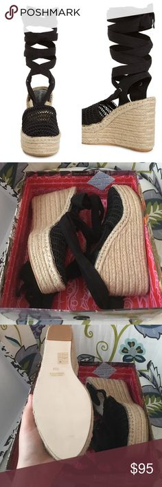 """Jeffrey Campbell 'Libra' Black Lace up Sandal Libra espadrille wedge sandal. True to size. 4.25"""" heel and 1.5"""" platform. Wraparound tie strap. Textile upper, leather lining, synthetic sole. New in box. Offers welcome through offer tab. No trades. 11129161251 Jeffrey Campbell Shoes Espadrilles"""