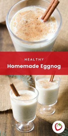 We've developed a homemade eggnog recipe that will leave you satisfied and without a gut bomb. While it's not a health food per say, it's got way less fat and sugar than traditional eggnog. #eggnogrecipe #healthyeggnog #holidayrecipes #healthydesserts #holidaybeverages