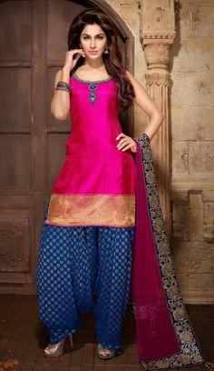 Magenta Patiala Shalwar Kameez In Art Silk