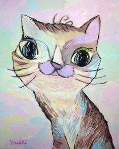 ユニークなニャンコ 中尾道也 Cat Paintings, Space Cat, Contemporary Artists, My Works, Community, Cats, Gatos, Kitty Cats, Cat Breeds