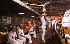 Carlos Beltran sharing the team's bubblegum 7/5/12