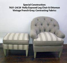 Special Construction of 7631-24/29  Holly Exposed Leg Chair and Ottoman made by Hickory Chair.
