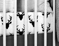 OLLI + LIME | MODERN CRIB BEDDING | MODERN BLACK + WHITE NURSERY BEDDING | WOODLAND DEER CRIB SHEET