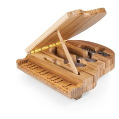 The Piano cheese board and tool set makes a perfect gift for pianists, music enthusiasts, and those who love owning items that are uniquely novel and fun to share with guests. Its brushed stainless steel tools provide the finishing touch to this one-of-a-kind premium entertaining set. The Piano will have your guests talking from the moment they see it!