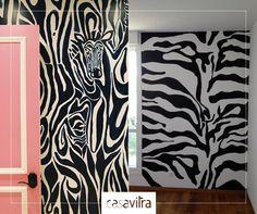 Para quem não tem medo de ousar na decoração, uma sugestão: que tal uma parede inteira trabalhada na estampa de zebra? Sim ou não?