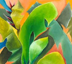 Contemporary Painting, Plant Life, Green Art, Green painting, Giclee on Canvas of Original Acrylic on Canvas, Title: Mixed Bananas 3a