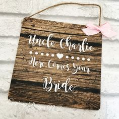 Here comes your bride personalised plaque By Epiphany Designs NI
