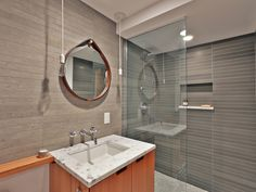 guest bath Portland House, Guest Bath, Mirror, Bathroom, Furniture, Home Decor, Houses, Bath Room, Homemade Home Decor