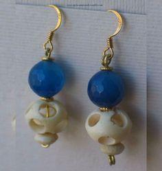 Boucles aux Perles de Delhi en Os Agate et Vermeil. Vermeil Agate Earrings | eBay