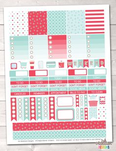 Red and Aqua Blue Printable Planner Stickers Weekly Kit – Instant Download PDF for your Erin Condren Life Planner
