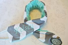 Embroidered Stethoscope Cover - Nurse, Doctor, Med Student, Nursing Student, Medical Assistant - Gray Chevron with Aqua - MADE TO ORDER