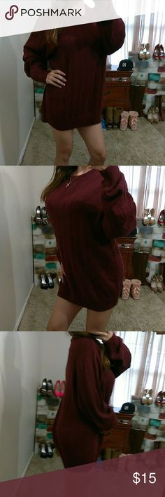 """Wine Red XL Ribbed Crew Neck Sweater Excellent condition-100% cotton- Bust: 29"""" (relax) length: 30"""" (shoulder to bottom hem)** model is 5""""2, 115 lbs & 34D** Haggar Sweaters Crew & Scoop Necks"""