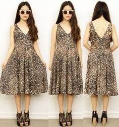 Vintage Safari Animal Tribal Print Leopard FULL CIRCLE Skirt Plunging V Dress 10