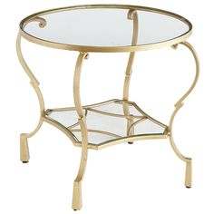 Chasca Glass Top Gold Round End Table