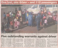 112 Passengers in one taxi - only in South Africa - I wonder if they tried for an entry in the Guiness Book of Records. Funny Pictures, Funny Pics, Funny Stuff, South Africa, African, Taxi, Books, Politics, Random