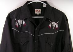 western shirt mens large black pearl snap dream by moivintage, $22.99